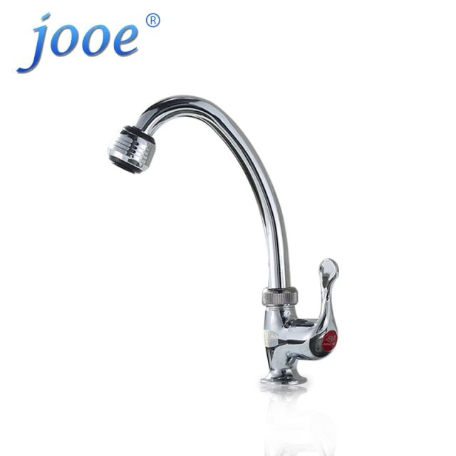 jooe chrome polished kitchen faucet single cold water grifo Deck Mounted kitchen tap 360 degrees rotation torneira cozinha