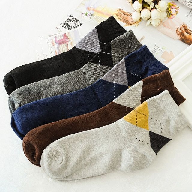 Thickening Cotton Socks Warm  Autumn Winter Cross Rhombic Pattern Quality Soft Comfortable 5 Colors Sock For Men Free Shipping