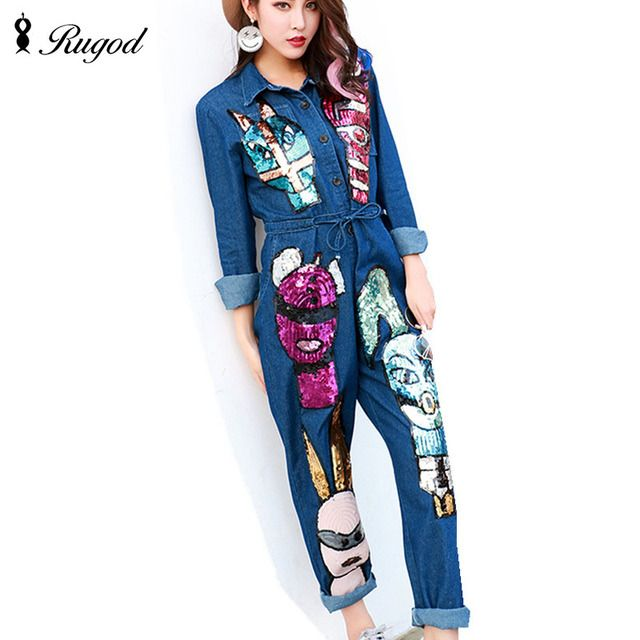 New Arrival 2017 Jumpsuits Jeans European Style Women Jumpsuit Cartoon Sequins Denim Overalls Long Sleeve Rompers Girls Pants