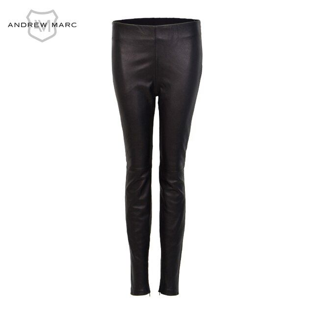 ANDREW MARC 2016  Women's Black Leather Leggings Mid Waist Slim Pants   TW6A6005