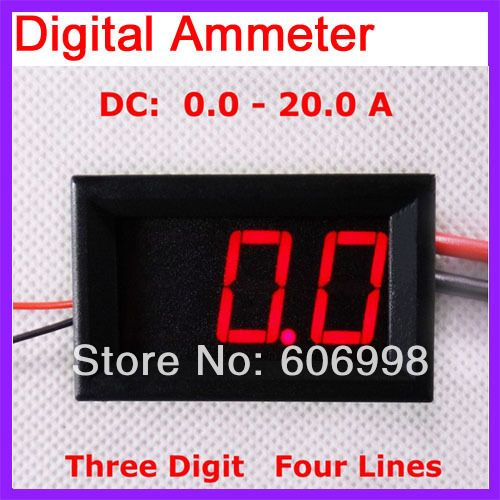 5pcs/lot 0-20A Range DC Digital Ammeter