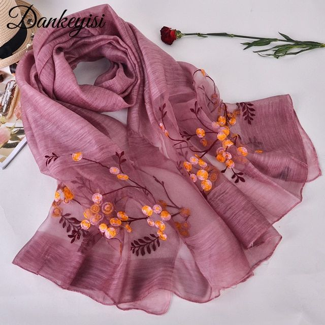 [DANKEYISI] Women Scarves New Design Wool Silk Scarf 190*90cm Floral Embroidered Long Shawls Fashion Ladies Wraps High Quality