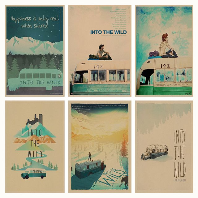 Into the Wild retro Poster Retro Kraft Paper Bar Cafe Home Decor Painting Wall Sticker