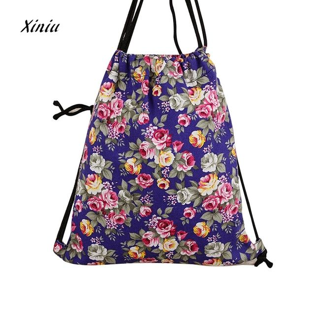 National canvas drawstring backpack 2018  Fashion Girls vintage flower Printing Backpack Drawstring Bags Mochila Feminina
