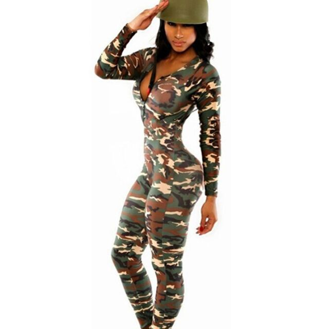 Polyester Novelty Print Bodysuit New Woman Long Sleeve Camouflage Summer Monos Feminino Femme Women Jumpsuit Promotion Hot A50