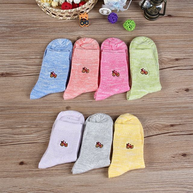 20Pairs/Lot women socks female embroidery bicycle candy color hot winter socks