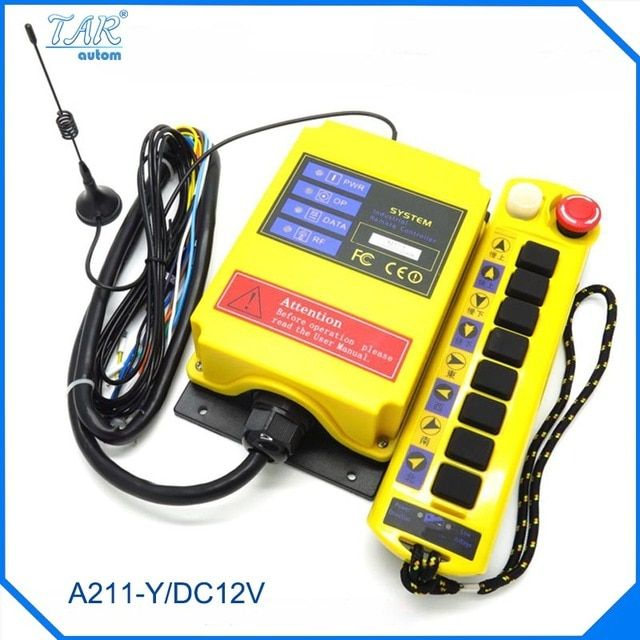 DC12V 1 Speed 1 Transmitter 9 Channels Hoist Crane Industrial Truck Radio Remote Control System Controller receiver Remote 500M
