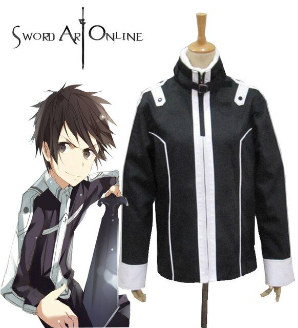Free Shipping Sword Art  Online Kirito Knights of the Blood Black Coat Anime  Cosplay Costume