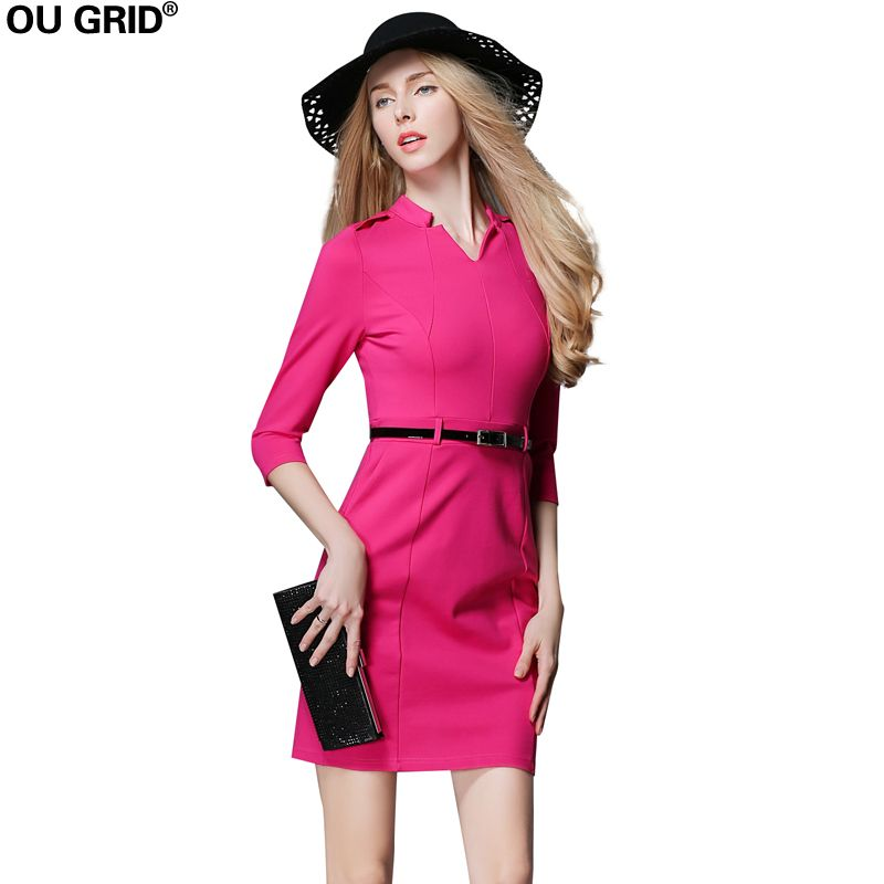 Women Work Dress 2018 Autumn Three Quarter Sleeve Rose Red Slim Pink Office Lady Dress Plus Size Dress With Blet L-XXXL