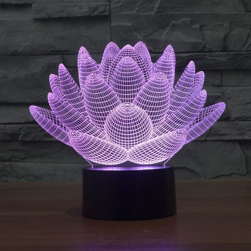 Touch Lotus 3D colorful lights night light strange new stereoscopic 3D visual illusion lamp LED lamp Holiday light Mood light