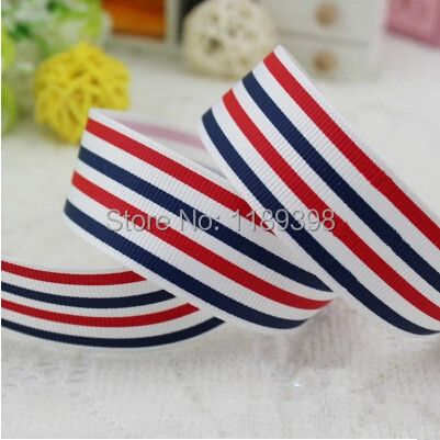 Free shipping, 1'' 2.5CM 25mm Red/White/Blue Striped Ribbon Polyester Grosgrain Ribbon Gift Package DIY Hairbow 20Meters Lot