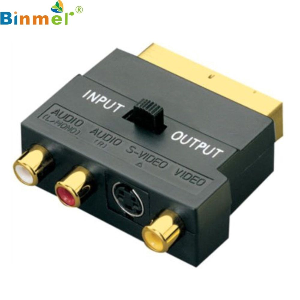 SCART Adaptor AV Block To 3 Phono Composite or S-Video With In/Out Switch GOLD LJJ0119