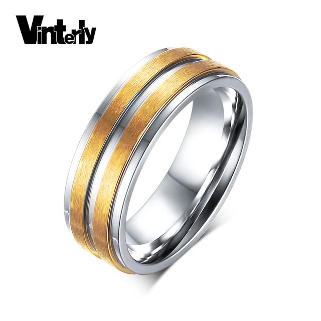 Vinterly Fashion Korea Style Men's Matte Finished 6mm Wedding Ring Double Row Gold Color Stainless Steel Ring for Men