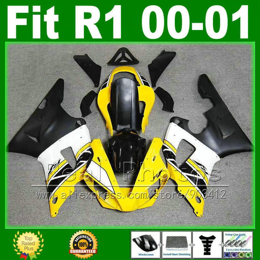 Yellow white black fairings for YAMAHA R1 2000 2001 cheap fairing kit YZFR1 00 01 1000 YZF-R1 bodywork kits plastic parts