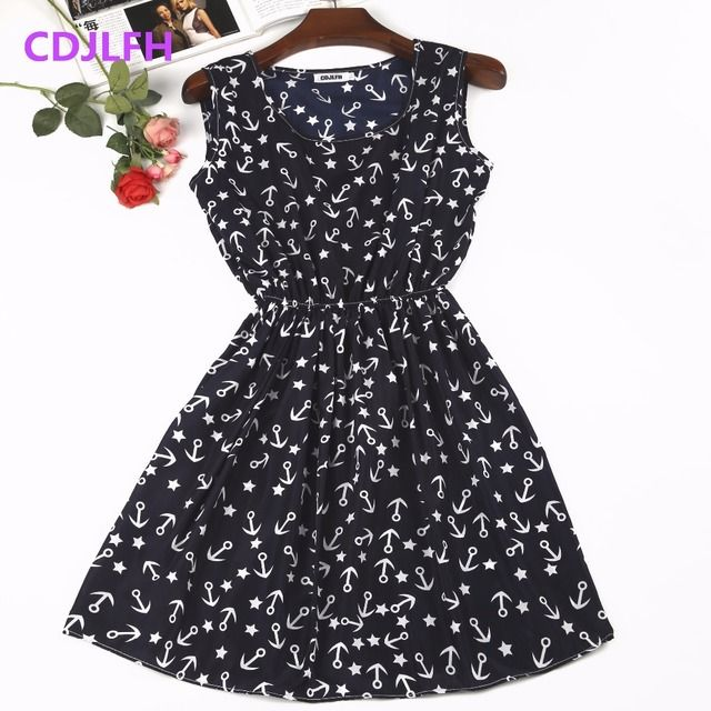 Free shipping 2017 new summer autumn vestidos new Women casual Bohemian floral sleeveless vest printed beach chiffon dress sexy