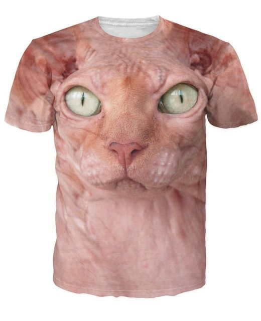 Sphynx T-Shirt hairless cat in all its glory 3d Print t shirt Women Men Unisex Casual Summer Style tee Bald Cat tees tshirts