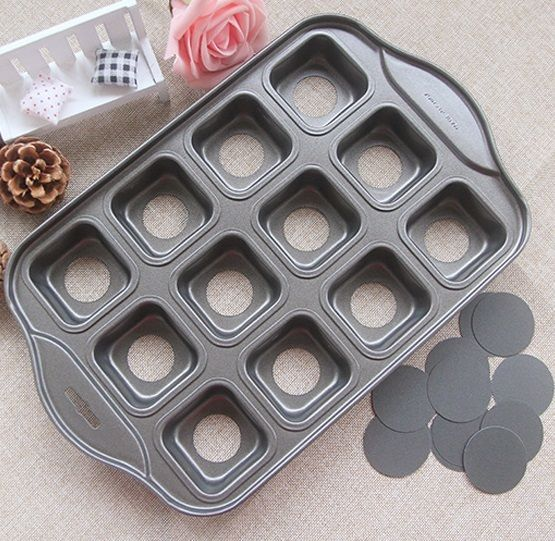 12 Cups Nonstick Deluxe Mini Cheesecake Pan Square Shape Loaf Muffin Pan Drop Bottom Carbon Steel Cake Mold