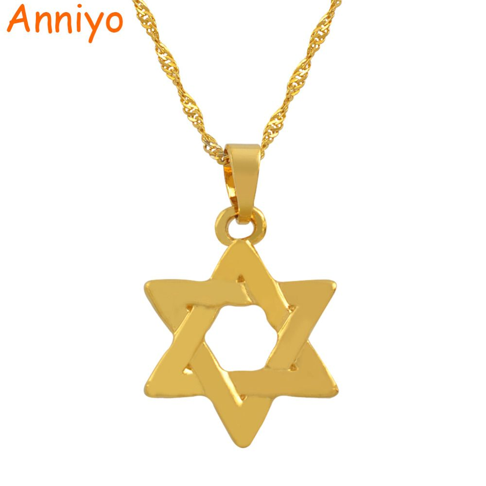 Anniyo Israel Star Hexagram Pendant Necklaces Magen David Silver/Gold Color Jewelry Tantrism Jewish Star Solomon Seal #025206