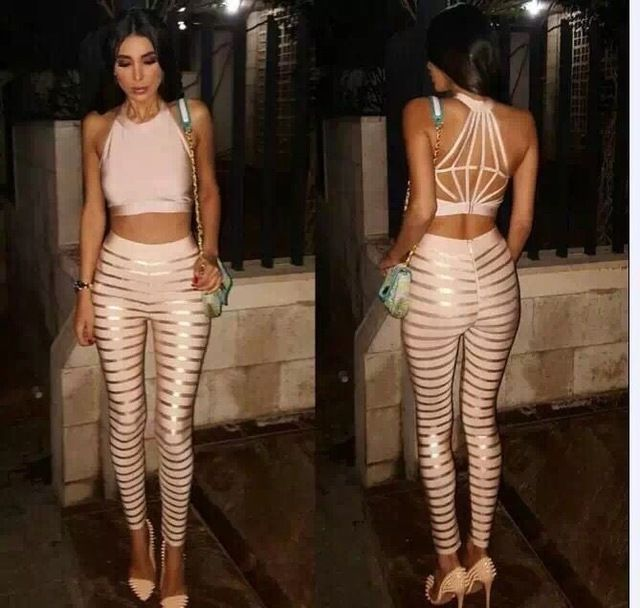 Hot Sale Women Solid Sexy 2 Piece Print Bandage Jumpsuit 2016 Knitted Bodycon Elastic Designer Bandage Jumpsuits