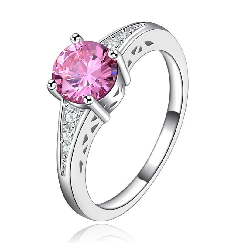 Super Deal Pink Stone Fashion Silver Rings For Women Wedding Jewelry  engagement female ring Gift anel bijoux L237