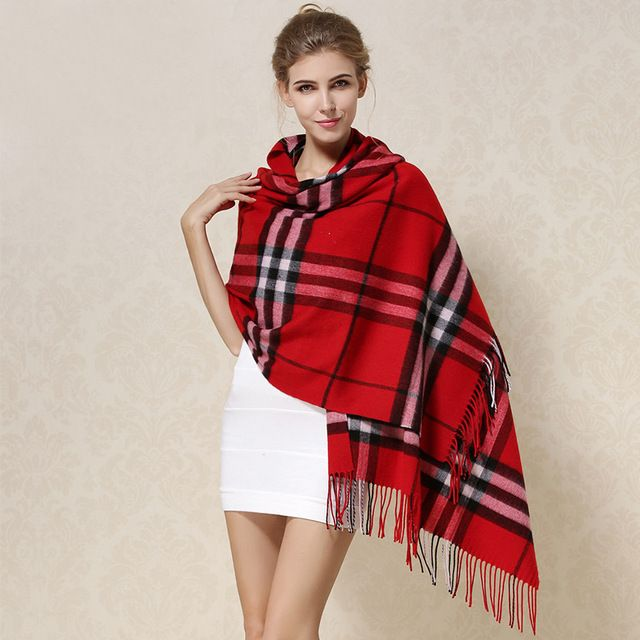 100% Lamb Wool Scarf Shawl Female Fashion Plaid Style Warm Winter Thicken Long Scarves Large Size Woolen Neckerchief FW105