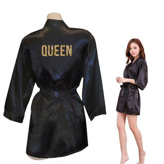 QUEEN Golden Glitter Print Kimono Robes Faux Silk Women Bachelorette Robes Men Gifts For Her Free Shipping