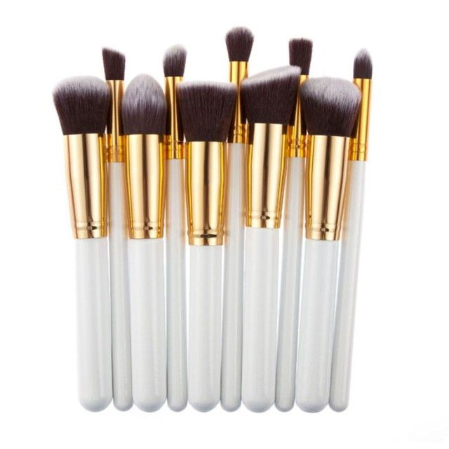 10 Pcs Silver/Golden Makeup Brush Set Cosmetics Foundation Blending Blush Makeup Tool Powder Eyeshadow Cosmetic Set