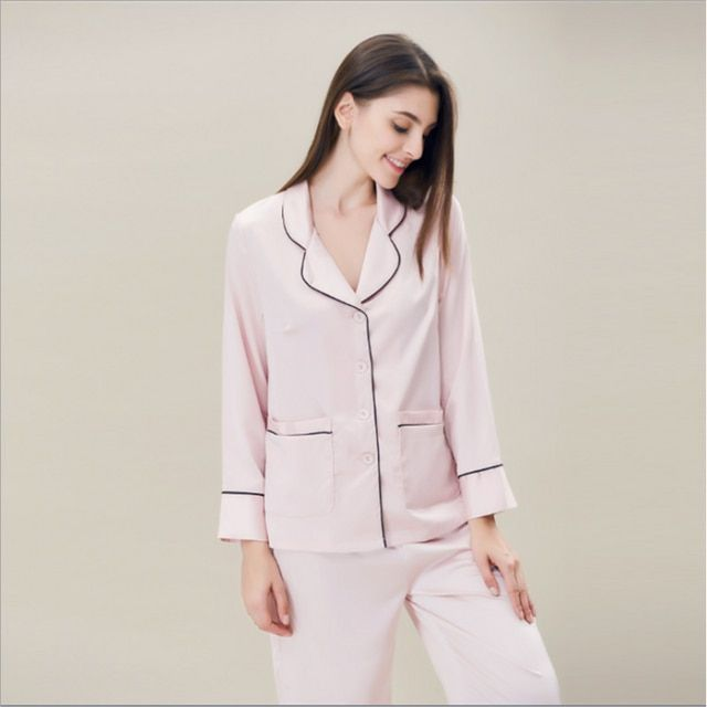 2017 Spring Brand Homeweear Girl Imitated Pajama sets Ladies Casual Comfort Sleepwear suit Female Turn-down collar shirts+pants