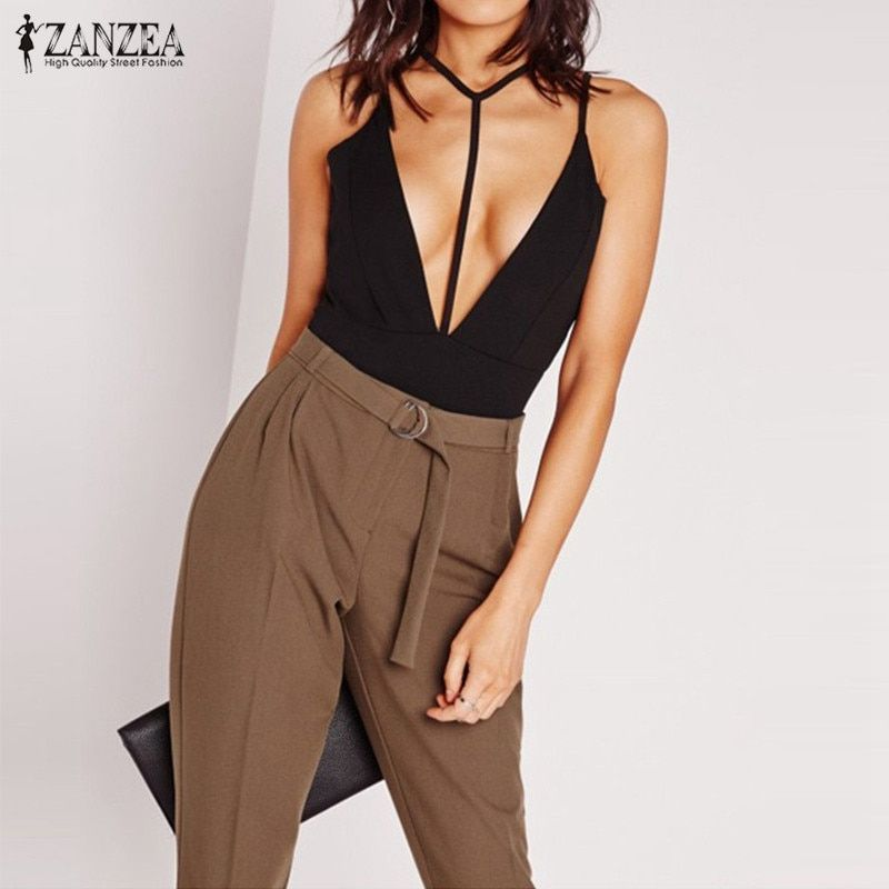 ZANZEA Sexy Rompers Women Jumpsuits 2017 Summer Deep V Neck Bodysuit Bodycon Overalls Strapless Backless Playsuits Plus Size