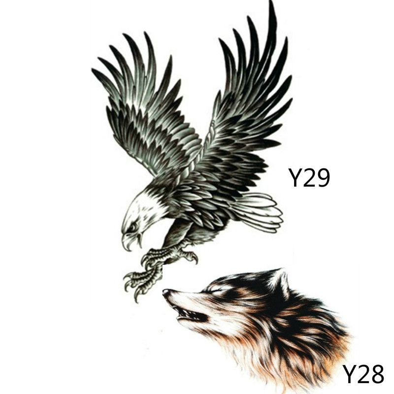2X Black Eagle Tattoo Stickers And 3D Sketch Horrible Brown Howl Wolf Head Designs Cool Chest Body Art Temporary Tattoo Stickers