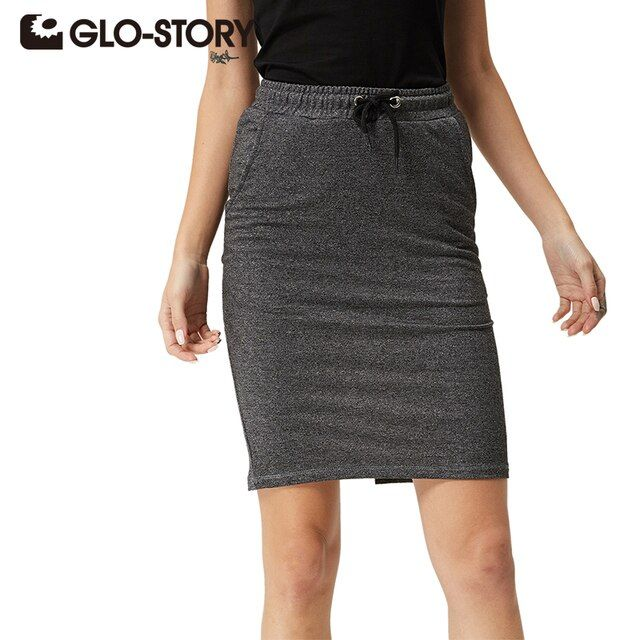 GLO-STORY Band Women Skirts 2017 New Arrivals High Quality Comfortable Summer Skirt 3Color Office Midi Skirts WQZ-1080