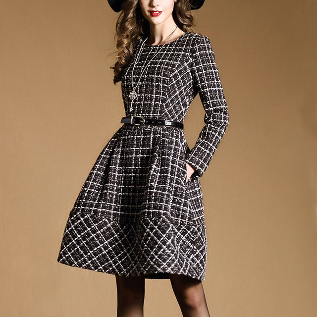 new winter Clothes autumn warm dress women spring casual a-line dresses women's elegant plaid long sleeve dresses S20265