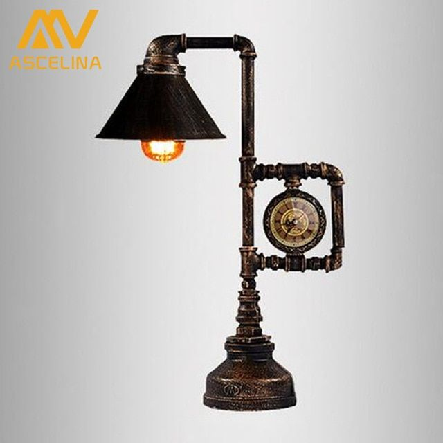 American vintage water pipe table lamp vintage desk lamp edison bulb bedroom livinng room bar home decoration table light