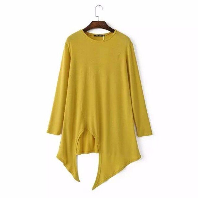 2017 Fashion Ladies solid color Irregular hem knitting t-shirt Casual women long sleeve O-Neck Tops T216