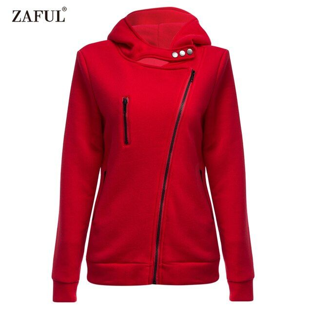 ZAFUL Spring Unisex Casual Hoodies 6 Solid Colors Turn-down Collar Long Sleeves Zipper Pockets Sweatshirts feminino Pullovers