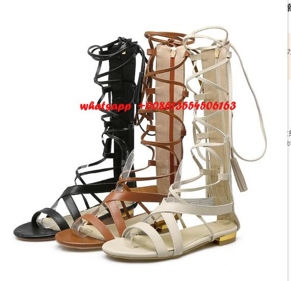 2017 summer hot selling sandal woman flat cross strap gladiator sandal PU leather cutouts sandal Rome style shoes