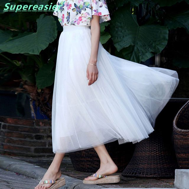 Lot 10x Women Tulle Tutu Skirt Mid-Calf Ball Gown Long Pleated Skirts Womens 2016 Winter Party White Midi Skirt Free Size BQ3000