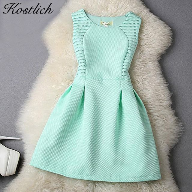 Kostlich Women Evening Party Dresses 2016 Elegant Summer Dress A-Line Lace Bodycon Casual Mini Dress Sundress Vestidos Clothes