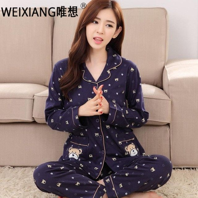 WEIXIANG Spring Pajamas For Women Sets 100% Cotton Long-sleeve Sleepwear Suit Female Plus Size M-3xl Pajamas Suits