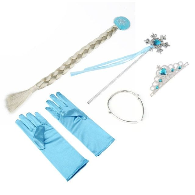 5 Pcs Cosplay Crown Tiara Hair Accessory Crown Wig +Magic Wand For Elsa Anna Great Costume for Party Performance 2018 Hot Sales