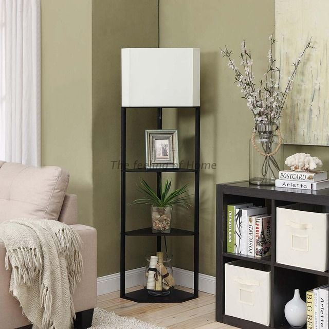 Remote control dimmer corner shelf tea table lamp