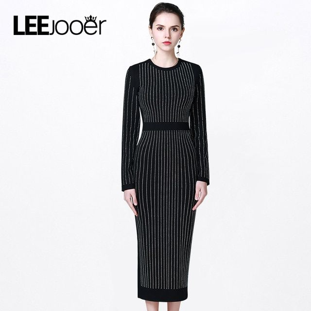 LEEJOOER Brands Clothing 2017 New Spring Dress Women Winter Dress Sexy Rhinestone Casual Office Bodycon Dress Party Dress Long