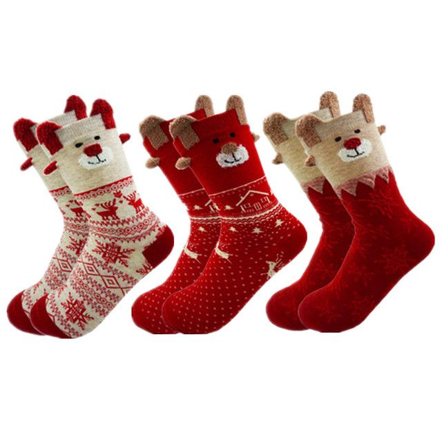 New 2019 Women Sock Winter Warm Christmas Gifts Stereo Socks Soft Cotton Cute Santa Claus Deer Socks Xmas Christmas socks S01
