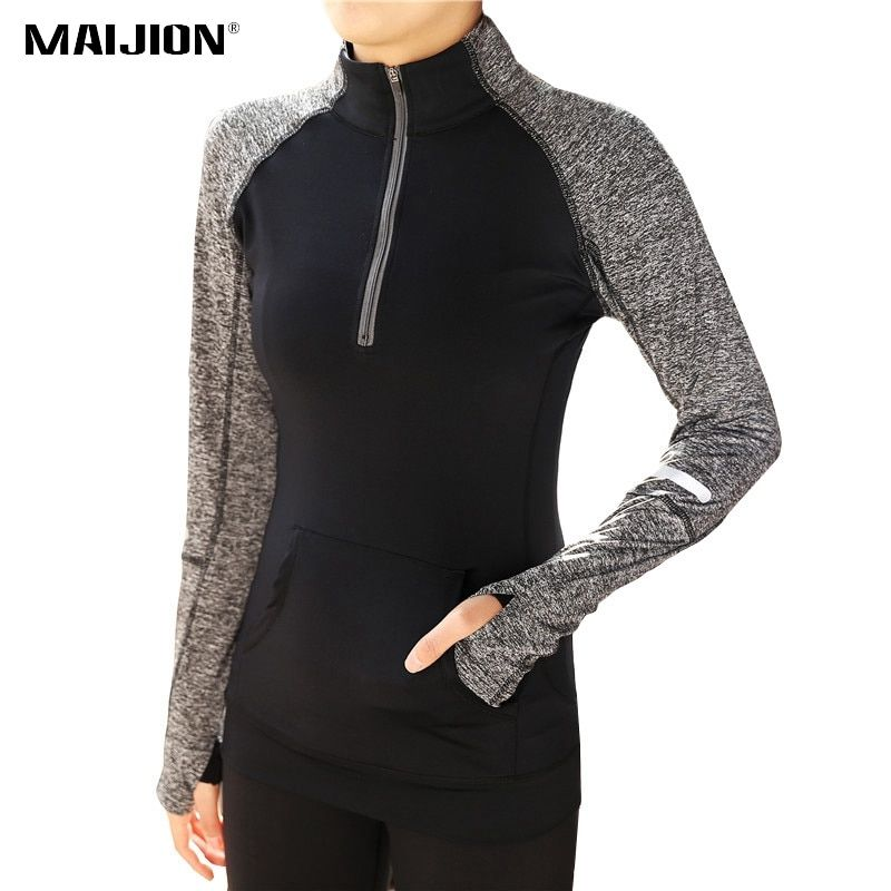 MAIJION Quick Dry Zipper Yoga Shirts, Women Elastic Long Sleeve Sport Tops, Fitness Running Shirts Tops Breathable Tracksuit