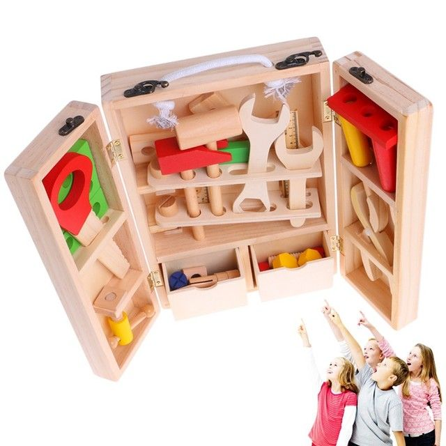 New 1Set Children's Simulation House Wooden Service Box Tool Repair Kit Funny Toy  Gift