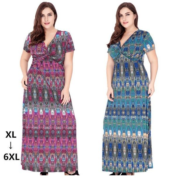 2017 Plus Size 5XL 6XL Knitted Summer Beach Long Dress V Neck Floral Printed Short Sleeve Maxi Dress Women Casual Loose Dresses