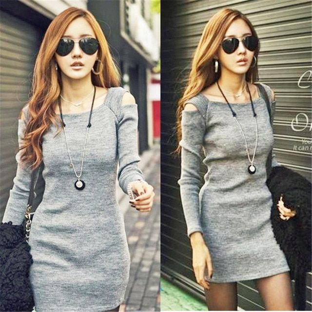 Sexy Slash Neck Knitted Dresses Women Long Sleeve Slim Off Shoulder Dress 2017 Sheath Bodycon Mini Party Dresses Jurk Vestidos
