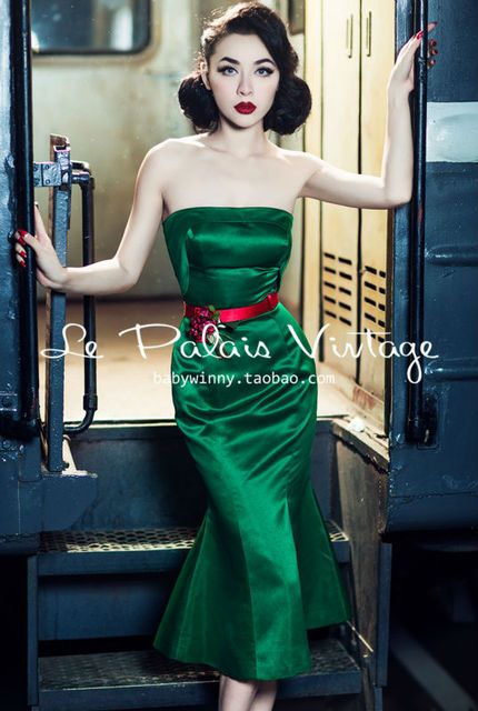 Le Palais Vintage the elegant emerald stereo clipping bra fishtail dress/trumpet/mermaid/bodycon dress