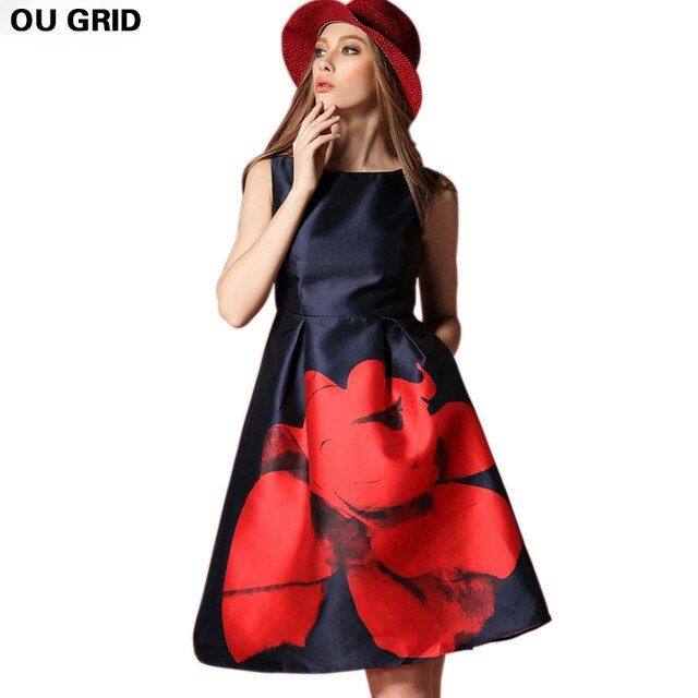 Women Spring Summer Dress 2016 Fashion Elegant Sleeveless Flower Print Dress Plus Size Party Dress for Women Vestidos XL-5XL