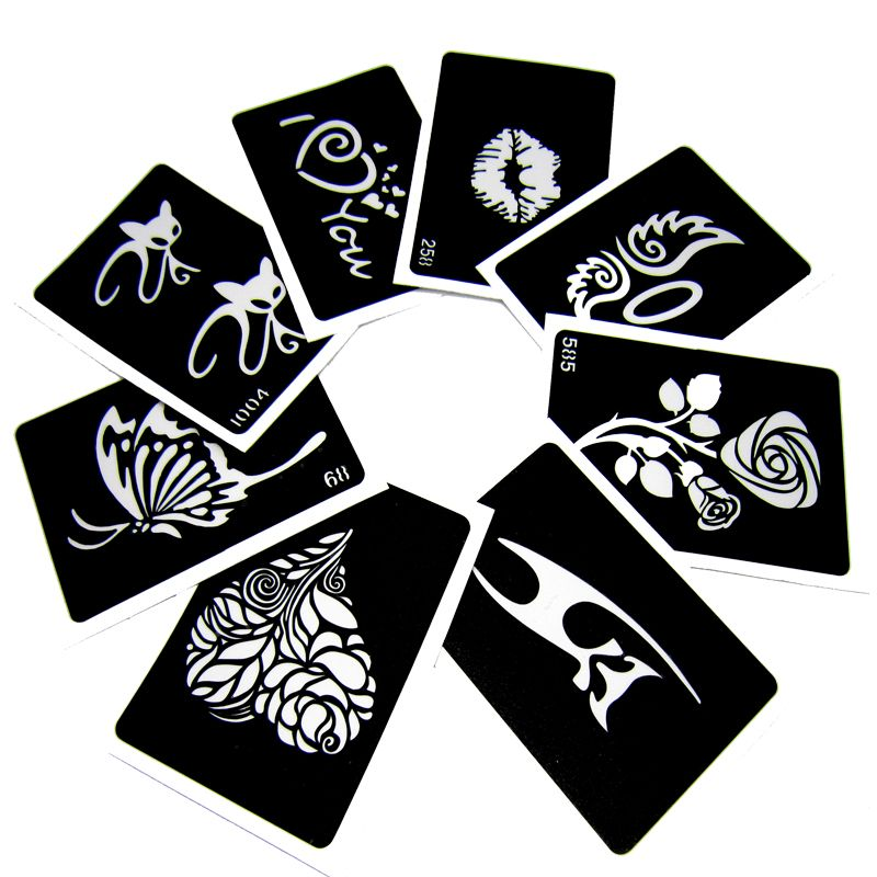 50pcs/lot Glitter Tattoo Stencil Drawing For Painting, Airbrush Tattoo Stencils For Tattoos Temporary Henna Templates Stickers